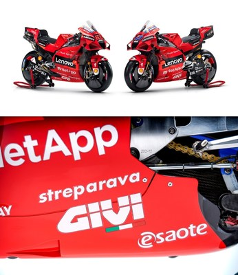 Ducati Desmosedici GP and a detail of the fairing on the left side of the bike.