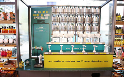 The new refill stations in The Body Shop, rolling out globally across 500 stores in 2021 and a further 300 stores in 2022